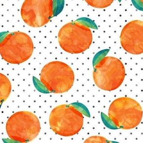 watercolor clementine on polka dots