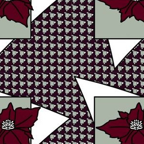 Elegant  Christmas Poinsettias with mod houndstooth