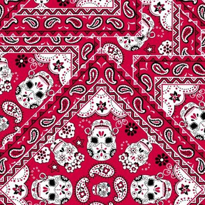 Skull Bandana Mexican red