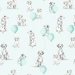 Watercolor Dalmatians - mint