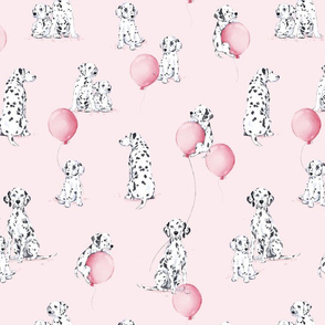 Watercolor Dalmatians - pink