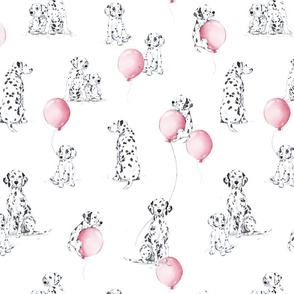 Watercolor Dalmatians - white