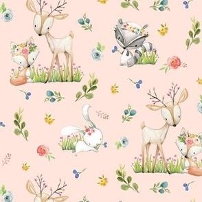 Woodland Friends (baby pink) Deer Fox Raccoon Flowers Baby Girl Nursery Blanket Sheets Bedding