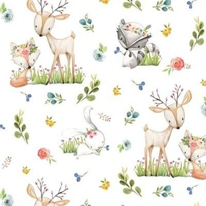 Woodland Friends - Deer Fox Raccoon Bunny Flowers Baby Girl Nursery Blanket Sheets Bedding