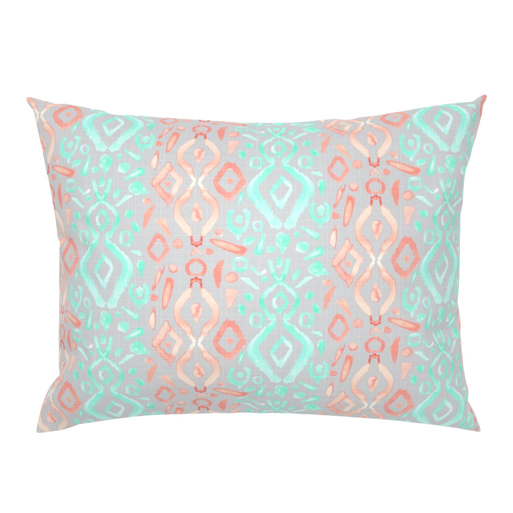 Campine Pillow Sham featuring Coral Peach Blush  Mint Green Ikat Watercolor Abstract Grey Gray Linen Texture _ Miss Chiff Designs by misschiffdesigns