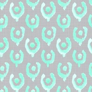 Mint Green Ikat Watercolor Abstract Floral Tulip Horse Shoe Grey Gray Linen Texture _ Miss Chiff Designs