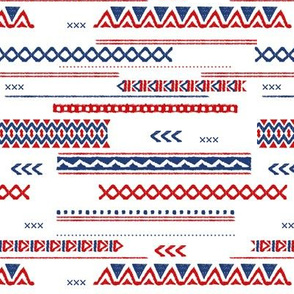 Native aztec design ethnic red national holiday usa 4th of July print red blue