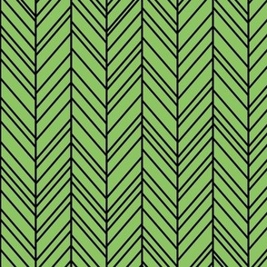 herringbone feathers apple green on black