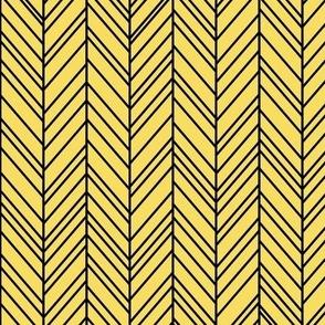 herringbone feathers butter yellow on black