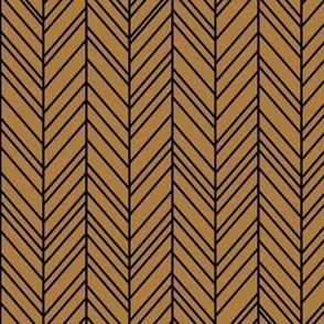 herringbone feathers caramel on black