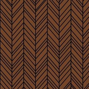 herringbone feathers chocolate brown on black