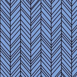 herringbone feathers cornflower blue on black
