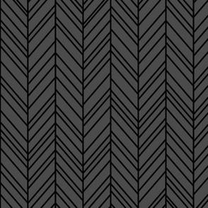 herringbone feathers dark grey on black