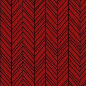 herringbone feathers dark red on black