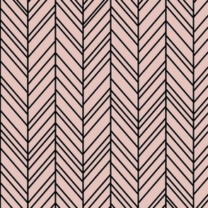 herringbone feathers dusty pink on black