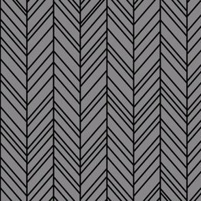 herringbone feathers granite grey on black