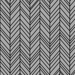 herringbone feathers grey on black