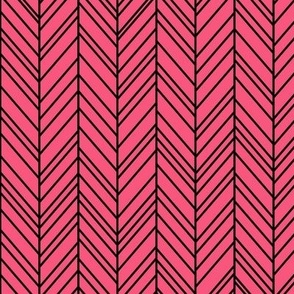 herringbone feathers hot pink on black