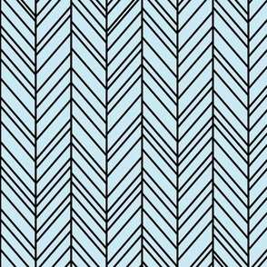 herringbone feathers ice blue on black