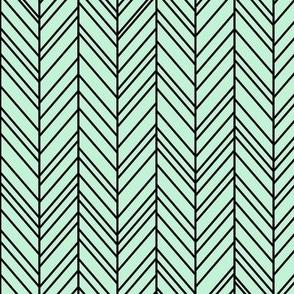 herringbone feathers ice mint green on black