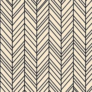 herringbone feathers ivory on black