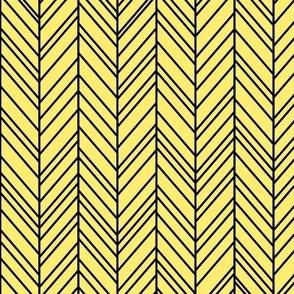 herringbone feathers lemon yellow on black