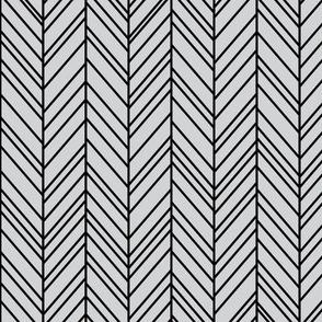 herringbone feathers light grey on black