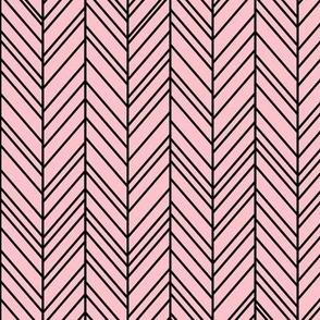 herringbone feathers light pink on black