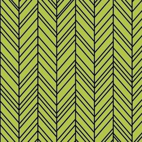 herringbone feathers lime green on black
