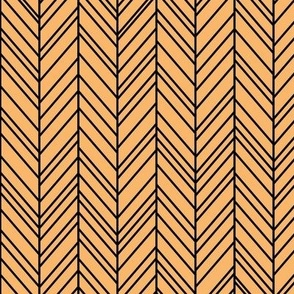 herringbone feathers mango orange on black