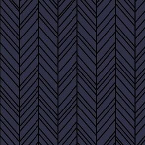 herringbone feathers midnight blue on black