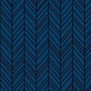 herringbone feathers navy blue on black