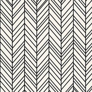 herringbone feathers off-white on black