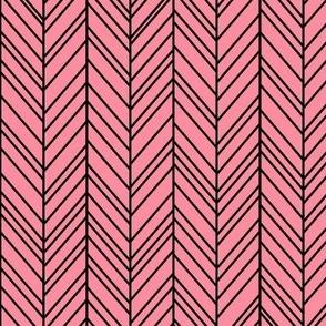 herringbone feathers pretty pink on black
