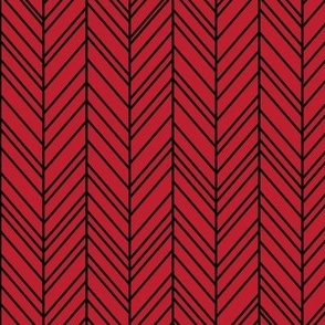 herringbone feathers red on black