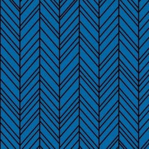 herringbone feathers royal blue on black