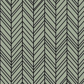 herringbone feathers sage green on black