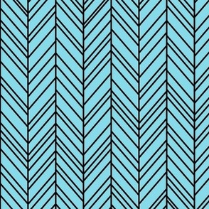 herringbone feathers sky blue on black