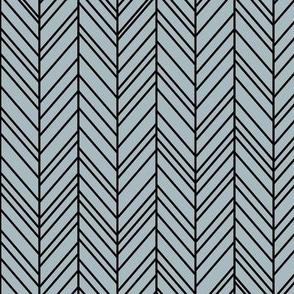 herringbone feathers slate blue on black