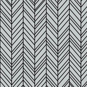 herringbone feathers sterling grey on black