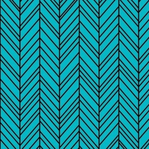 herringbone feathers surfer blue on black