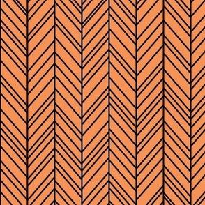 herringbone feathers tangerine orange on black