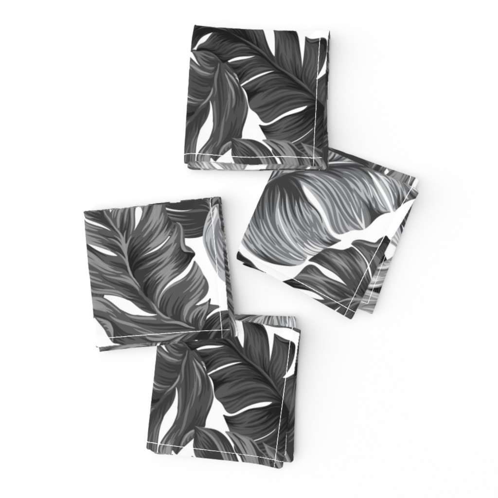 Frizzle Cocktail Napkins featuring Black and White Tropical Leaves, Banana Leaves on White by furbuddy