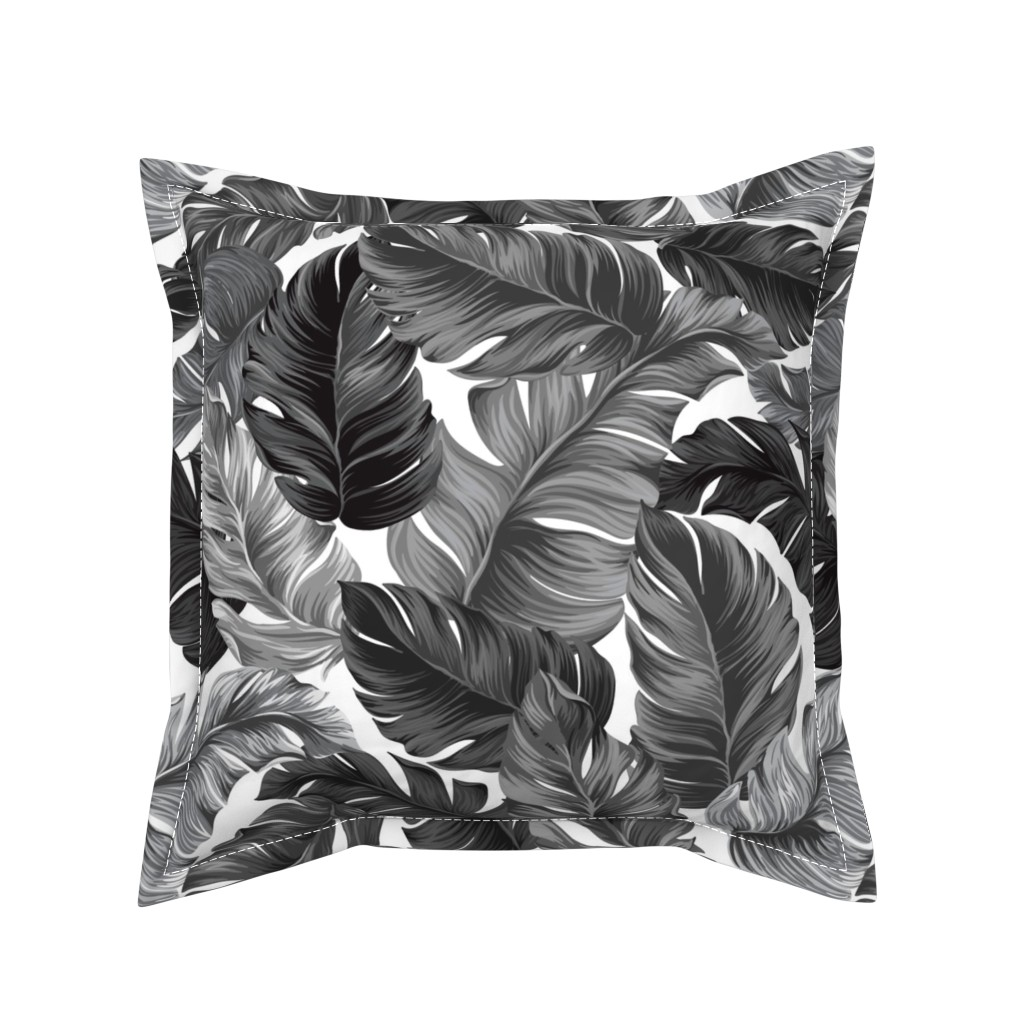 Serama Throw Pillow featuring Black and White Tropical Leaves, Banana Leaves on White by furbuddy