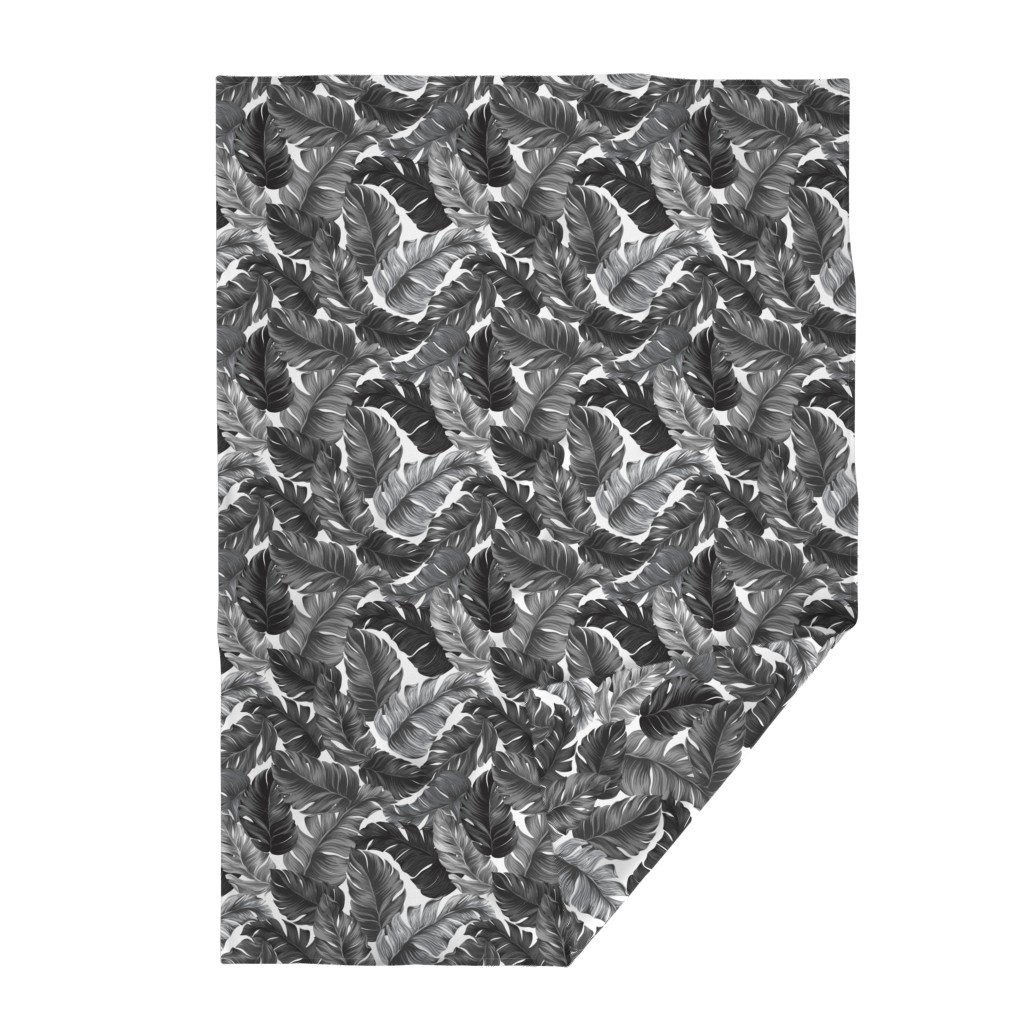 Lakenvelder Throw Blanket featuring Black and White Tropical Leaves, Banana Leaves on White by furbuddy