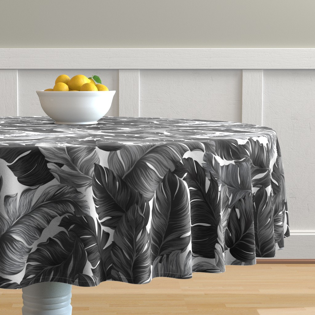 Malay Round Tablecloth featuring Black and White Tropical Leaves, Banana Leaves on White by furbuddy