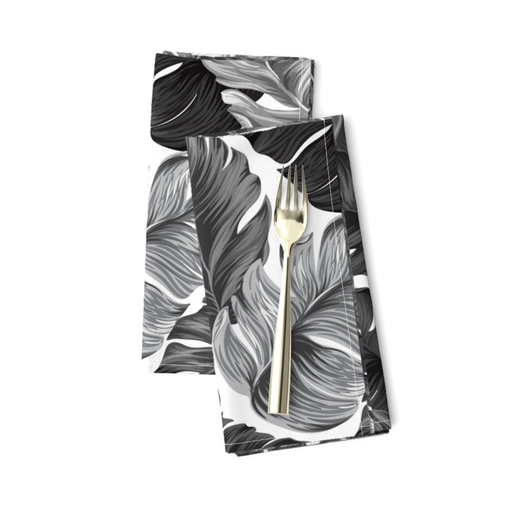 Amarela Dinner Napkins featuring Black and White Tropical Leaves, Banana Leaves on White by furbuddy