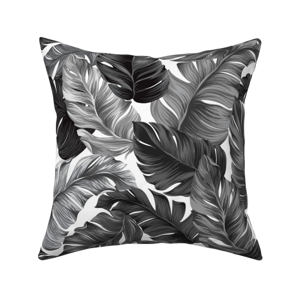 Catalan Throw Pillow featuring Black and White Tropical Leaves, Banana Leaves on White by furbuddy