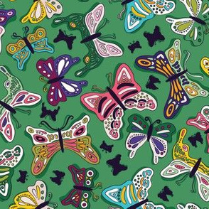 Flutter Butterflies on Green