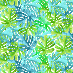 Watercolor blue green tropical leaves
